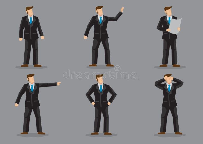 Επιχειρηματίας στο μαύρο πλήρες κοστούμι και τον μπλε δεσμό διανυσματικό Characte λαιμών διανυσματική απεικόνιση