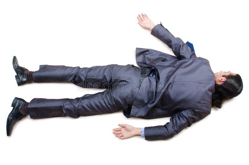 Επιχειρηματίας στο πάτωμα που απομονώνεται στο λευκό στοκ εικόνες