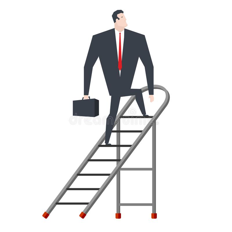Επιχειρηματίας στο stepladder Προϊστάμενος στη γλιστρώντας φορητή σκάλα Β διανυσματική απεικόνιση