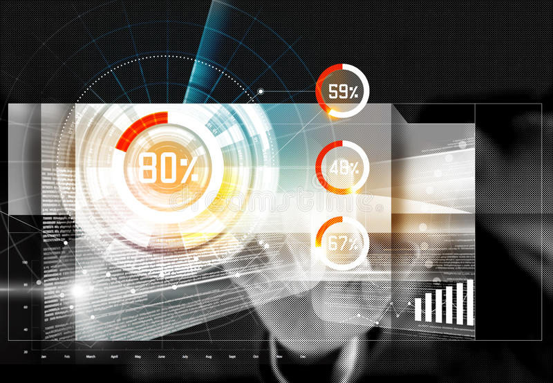 Επιχειρηματίας σχετικά με τον αριθμό στη μελλοντική διεπαφή οθόνης απεικόνιση αποθεμάτων