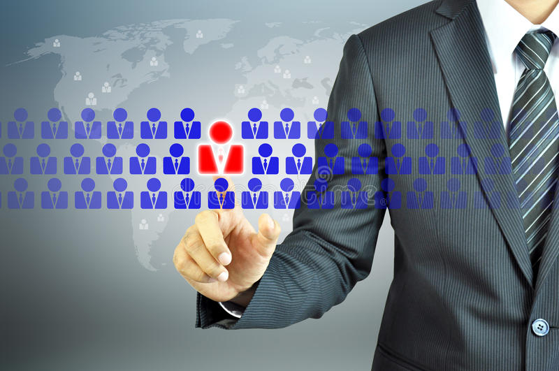 Επιχειρηματίας σχετικά με το ανθρώπινο σημάδι στοκ εικόνες με δικαίωμα ελεύθερης χρήσης