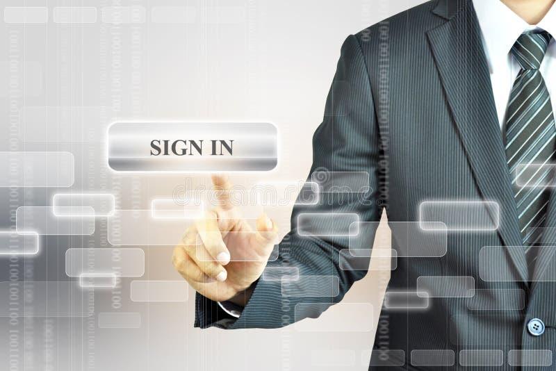 Επιχειρηματίας σχετικά με το ΣΗΜΑΔΙ στο κουμπί στοκ εικόνες με δικαίωμα ελεύθερης χρήσης