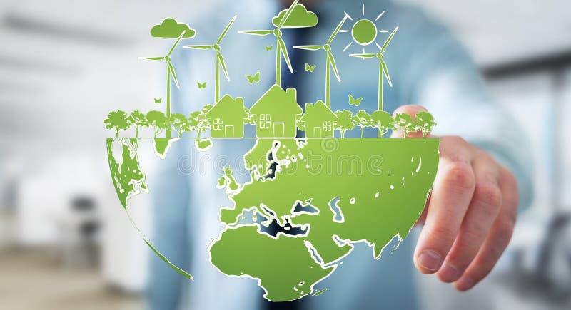Επιχειρηματίας σχετικά με το σκίτσο ανανεώσιμης ενέργειας διανυσματική απεικόνιση