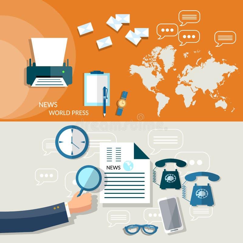 Επιχειρηματίας χεριών στρατηγικής ειδήσεων παγκόσμιων επιχειρήσεων διανυσματική απεικόνιση