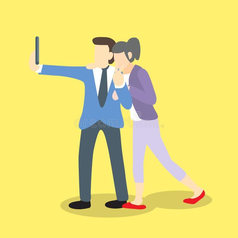 Επιχειρηματίας selfie με τη επιχειρηματία ως φίλη ή φίλο ή συνάδελφο απεικόνιση αποθεμάτων