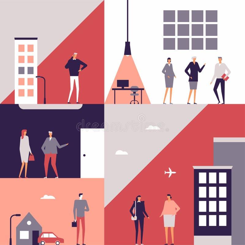 Επιχειρηματίες - επίπεδη απεικόνιση ύφους σχεδίου ελεύθερη απεικόνιση δικαιώματος