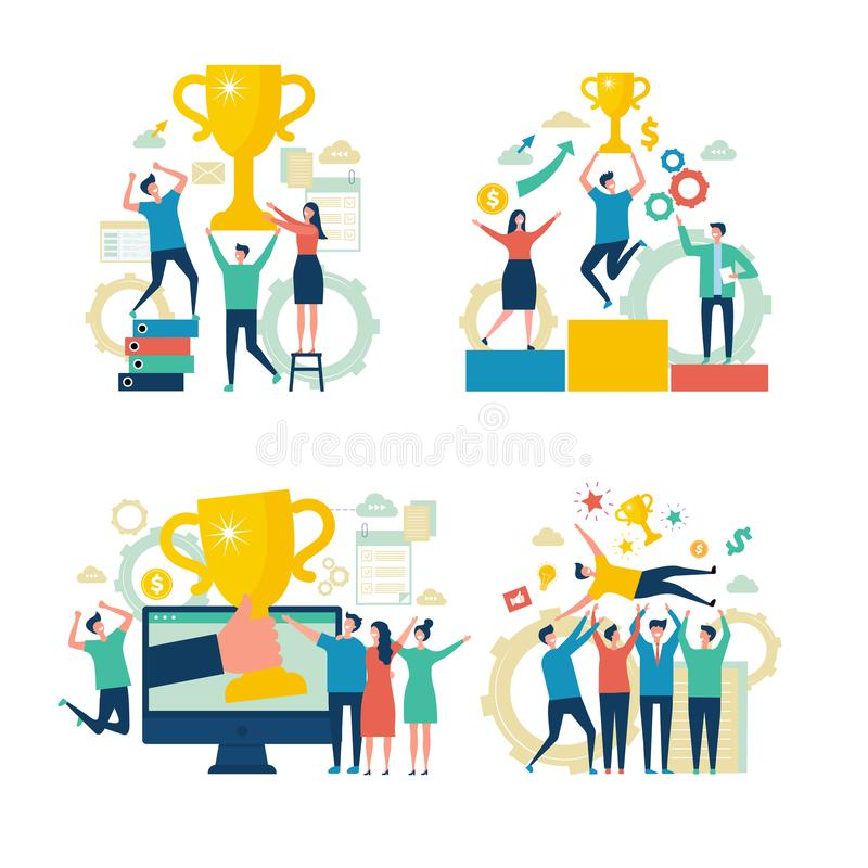 επιχειρηματίες επιτυχ&epsilon Η επίτευξη νίκης ανταμοιβών διευθυντών εργαζομένων υπολογίζει τη διανυσματική επιχείρηση σκηνών ένν διανυσματική απεικόνιση