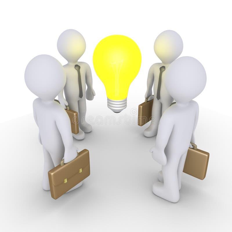 Επιχειρηματίες και λάμπα φωτός απεικόνιση αποθεμάτων