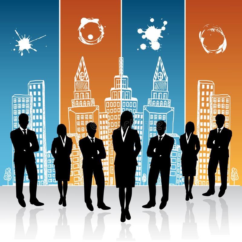 Επιχειρηματίες και επιχειρηματίας που στέκονται μπροστά από το υπόβαθρο πόλεων σκίτσων, διάνυσμα, απεικόνιση απεικόνιση αποθεμάτων
