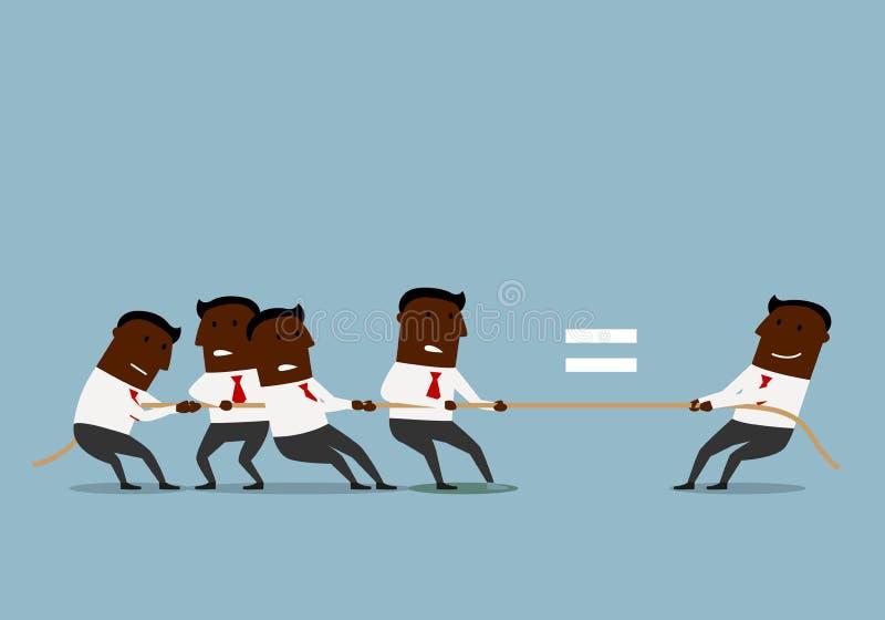 Επιχειρηματίες κινούμενων σχεδίων που ανταγωνίζονται στη σύγκρουση απεικόνιση αποθεμάτων