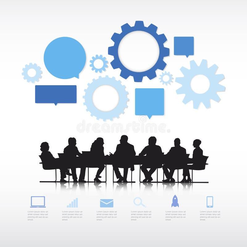 Επιχειρηματίες με τα πληροφορία-γραφικά στοιχεία απεικόνιση αποθεμάτων