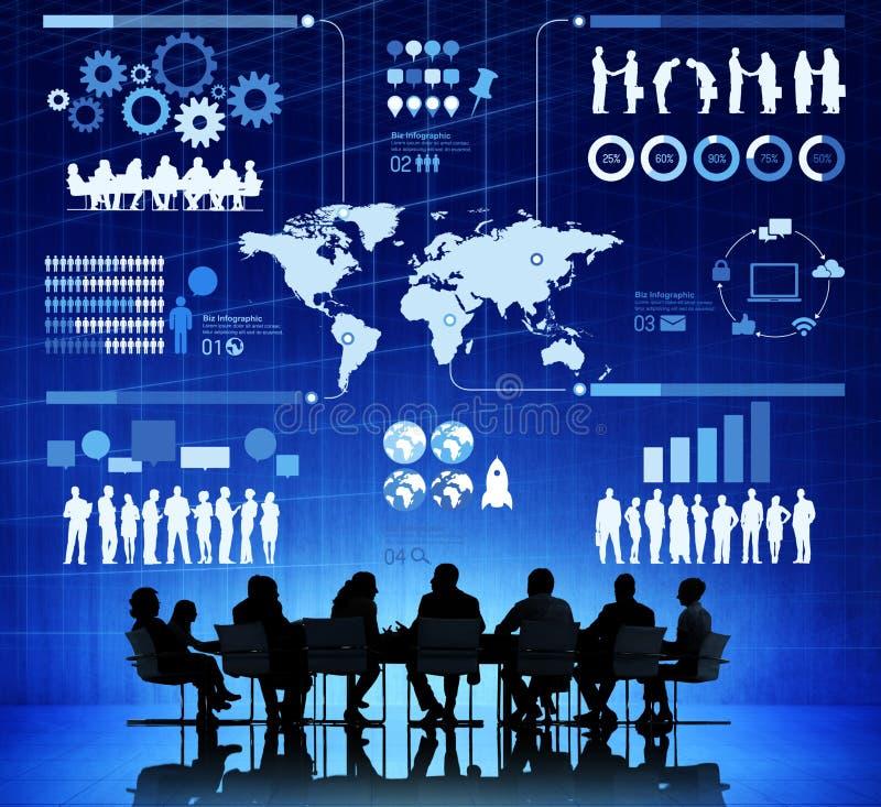 Επιχειρηματίες με την απεικόνιση Infographic στοκ εικόνες
