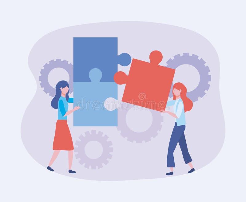 Επιχειρηματίες με τις πληροφορίες τεχνολογίας γρίφων και εργαλείων απεικόνιση αποθεμάτων