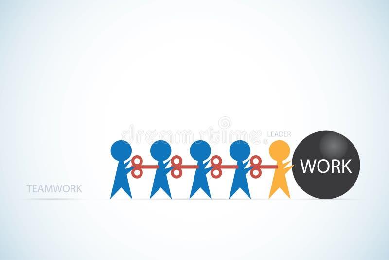 Επιχειρηματίες με το κλειδί μηχανισμού κουρδίσματος και τη λέξη εργασίας στη μαύρη έννοια σφαιρών, ομαδικής εργασίας και ηγεσίας απεικόνιση αποθεμάτων