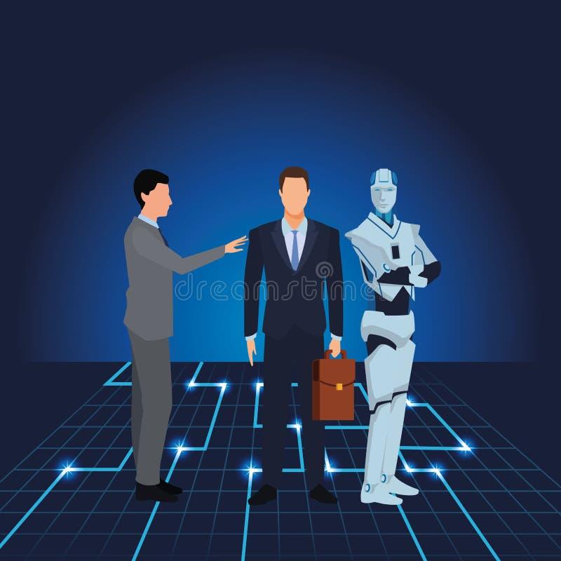 Επιχειρηματίες με το ρομπότ humanoid ελεύθερη απεικόνιση δικαιώματος