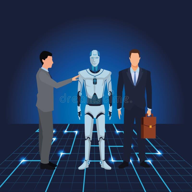 Επιχειρηματίες με το ρομπότ humanoid διανυσματική απεικόνιση