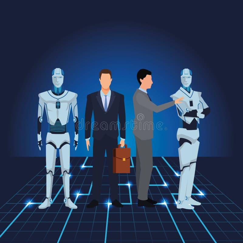 Επιχειρηματίες με το ρομπότ humanoid απεικόνιση αποθεμάτων