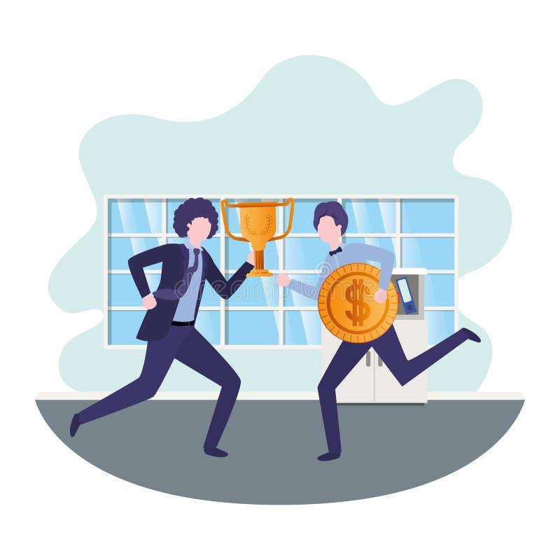Επιχειρηματίες με το τρόπαιο και το νόμισμα στο καθιστικό ελεύθερη απεικόνιση δικαιώματος