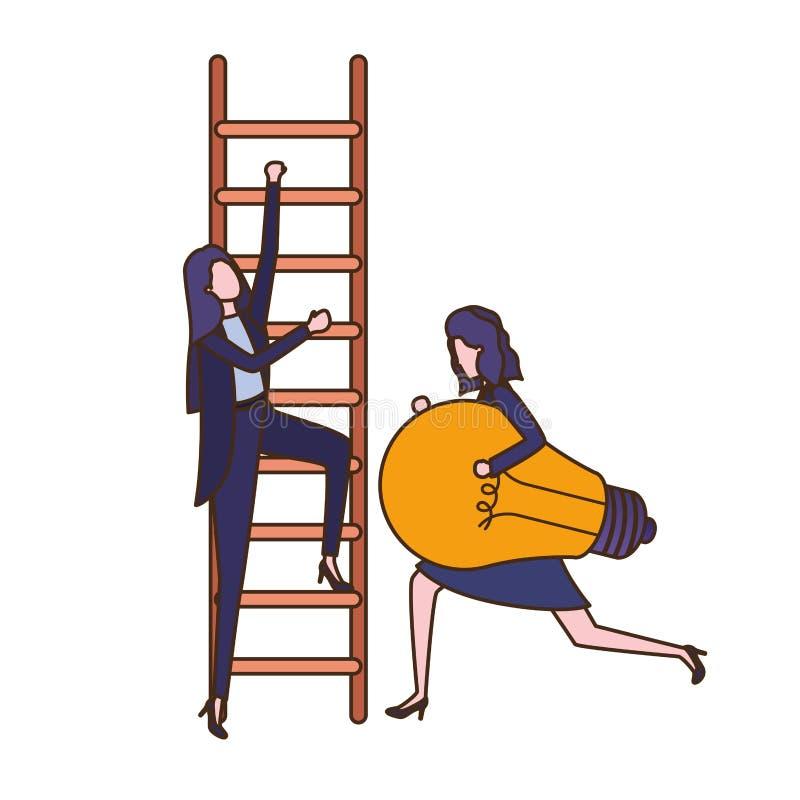 Επιχειρηματίες με το χαρακτήρα ειδώλων σκαλοπατιών και λαμπών φωτός απεικόνιση αποθεμάτων