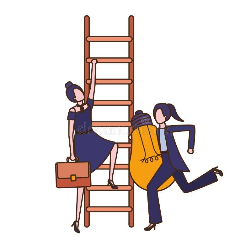Επιχειρηματίες με το χαρακτήρα ειδώλων σκαλοπατιών και λαμπών φωτός διανυσματική απεικόνιση