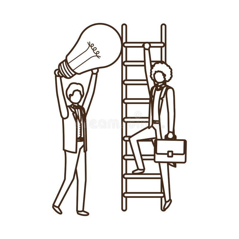 Επιχειρηματίες με το χαρακτήρα ειδώλων σκαλοπατιών και λαμπών φωτός ελεύθερη απεικόνιση δικαιώματος