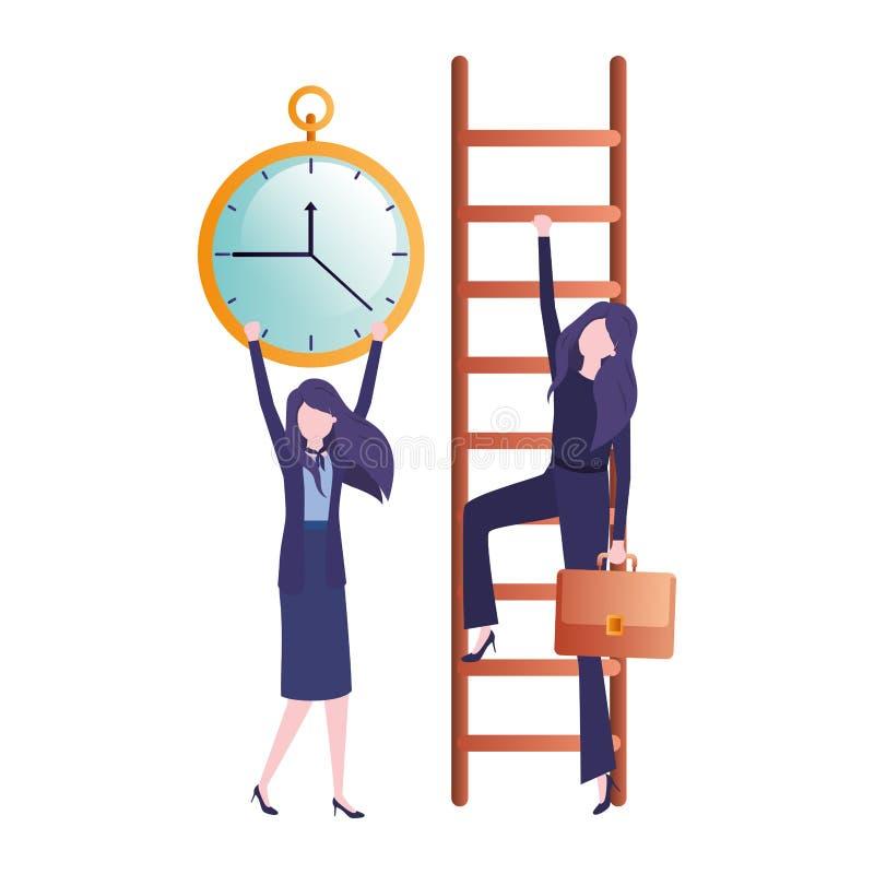Επιχειρηματίες με το χαρακτήρα ειδώλων σκαλοπατιών και ρολογιών απεικόνιση αποθεμάτων