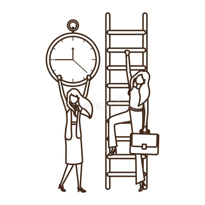 Επιχειρηματίες με το χαρακτήρα ειδώλων σκαλοπατιών και ρολογιών διανυσματική απεικόνιση