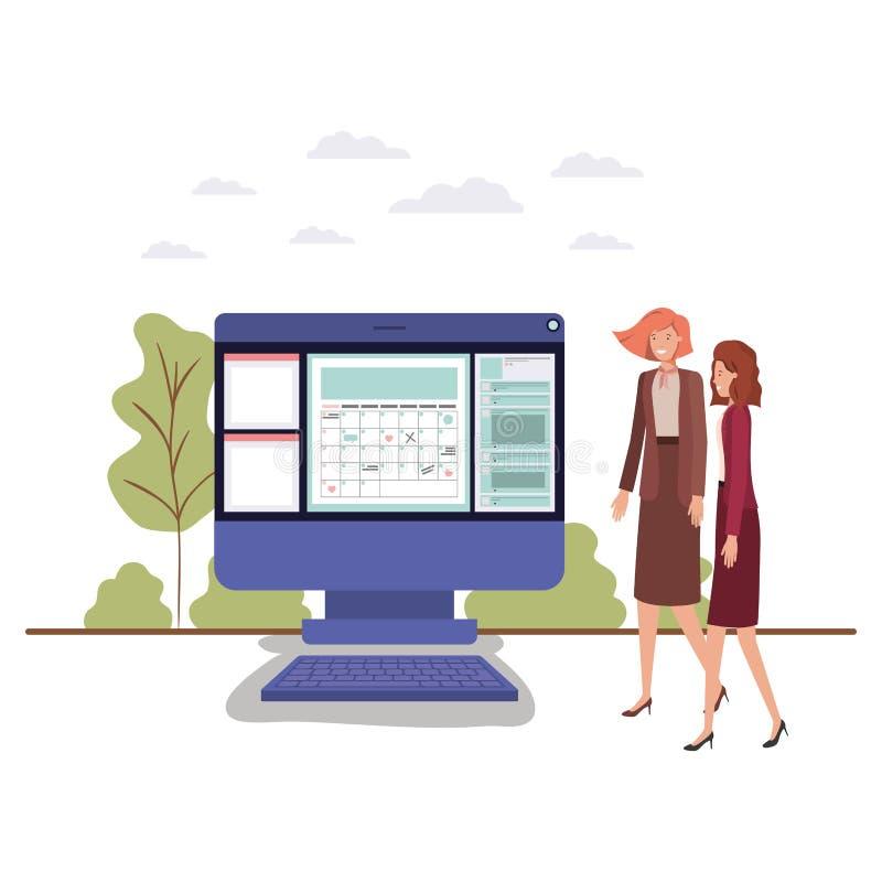 Επιχειρηματίες με το χαρακτήρα ειδώλων υπολογιστών γραφείου υπολογιστών απεικόνιση αποθεμάτων