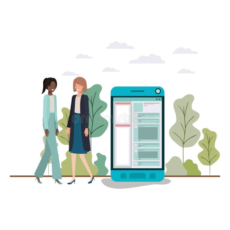 Επιχειρηματίες με το χαρακτήρα ειδώλων smartphone διανυσματική απεικόνιση