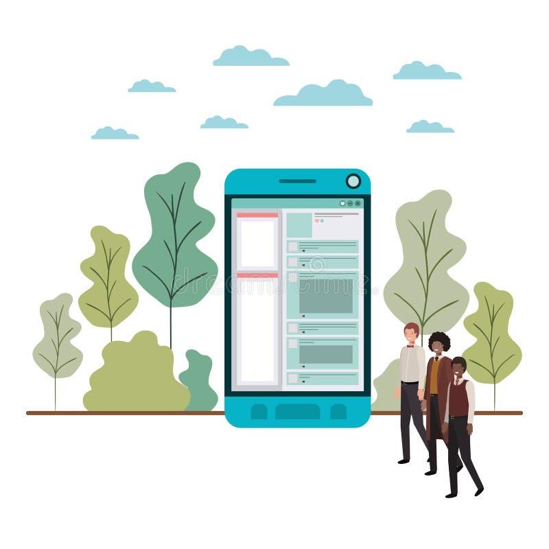 Επιχειρηματίες με το χαρακτήρα ειδώλων smartphone ελεύθερη απεικόνιση δικαιώματος