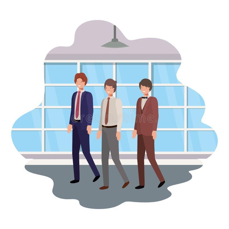 Επιχειρηματίες με το χαρακτήρα τοίχων και ειδώλων παραθύρων ελεύθερη απεικόνιση δικαιώματος