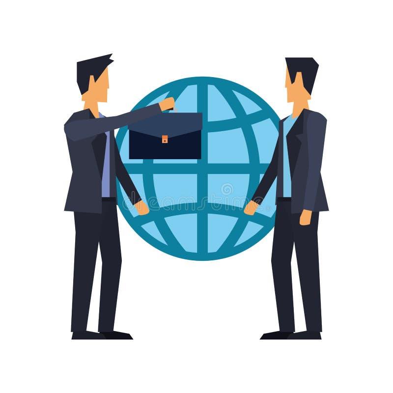 Επιχειρηματίες με το χαρτοφύλακα και τον κόσμο απεικόνιση αποθεμάτων