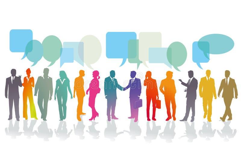 Επιχειρηματίες που έχουν τις συνομιλίες διανυσματική απεικόνιση