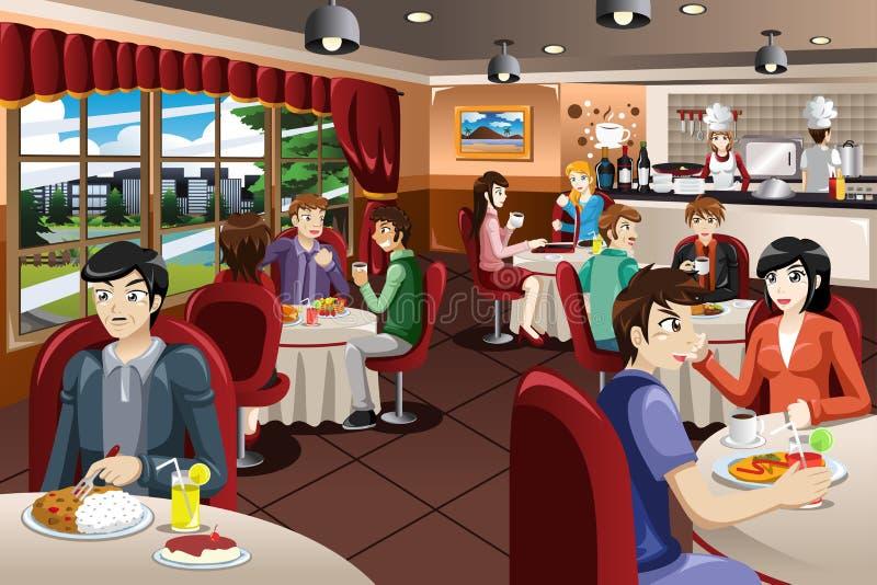 Επιχειρηματίες που έχουν το μεσημεριανό γεύμα από κοινού απεικόνιση αποθεμάτων