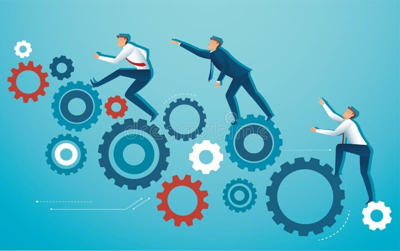 Επιχειρηματίες που αναρριχούνται στη διανυσματική απεικόνιση ροδών βαραίνω εργαλείων διανυσματική απεικόνιση