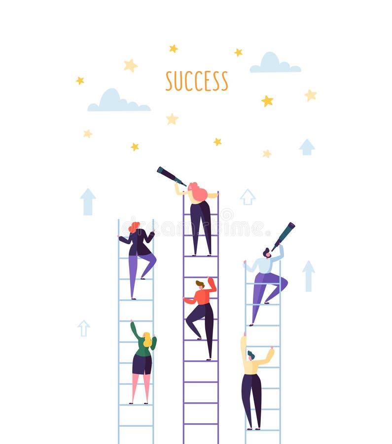 Επιχειρηματίες που αναρριχούνται στη σκάλα στην επιτυχία Σταδιοδρομία ανταγωνισμού που επιτυγχάνει την έννοια στόχου διανυσματική απεικόνιση