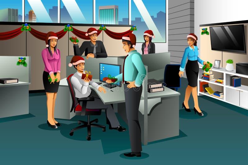 Επιχειρηματίες που ανταλλάσσουν το δώρο Χριστουγέννων απεικόνιση αποθεμάτων