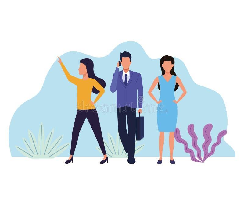 Επιχειρηματίες που απασχολούνται στα απρόσωπα κινούμενα σχέδια διανυσματική απεικόνιση