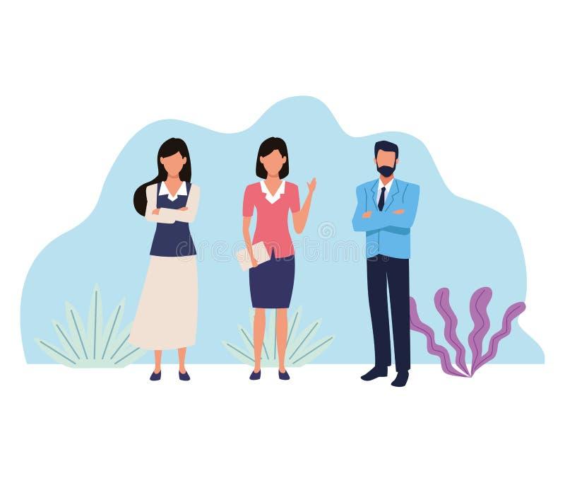 Επιχειρηματίες που απασχολούνται στα απρόσωπα κινούμενα σχέδια ελεύθερη απεικόνιση δικαιώματος