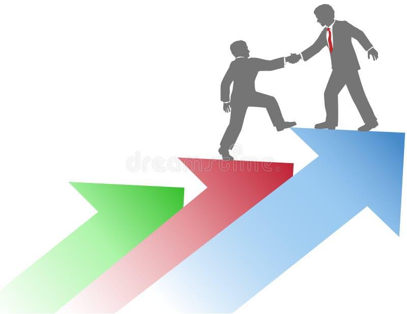 Επιχειρηματίες που βοηθούν να συνεργαστεί την επιτυχία απεικόνιση αποθεμάτων