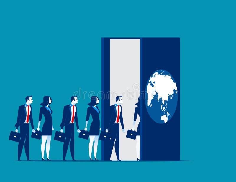 Επιχειρηματίες που εισάγουν τον εργασιακό κόσμο Επιχείρηση VE έννοιας διανυσματική απεικόνιση