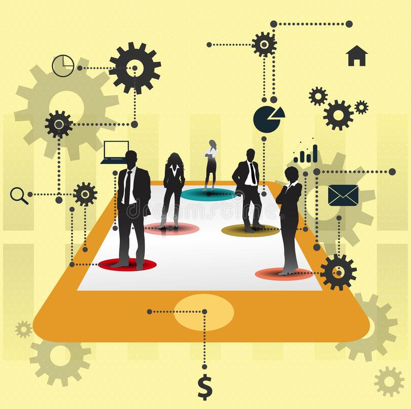 Επιχειρηματίες που εργάζονται από κοινού. Σχέδιο έννοιας συνεργασίας. διανυσματική απεικόνιση