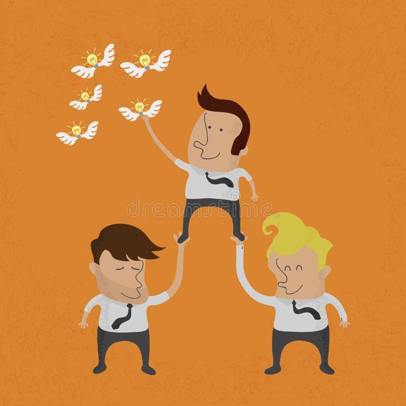 Επιχειρηματίες που εργάζονται ομαδικά για να αρπάξει την ιδέα, vecto eps10 ελεύθερη απεικόνιση δικαιώματος