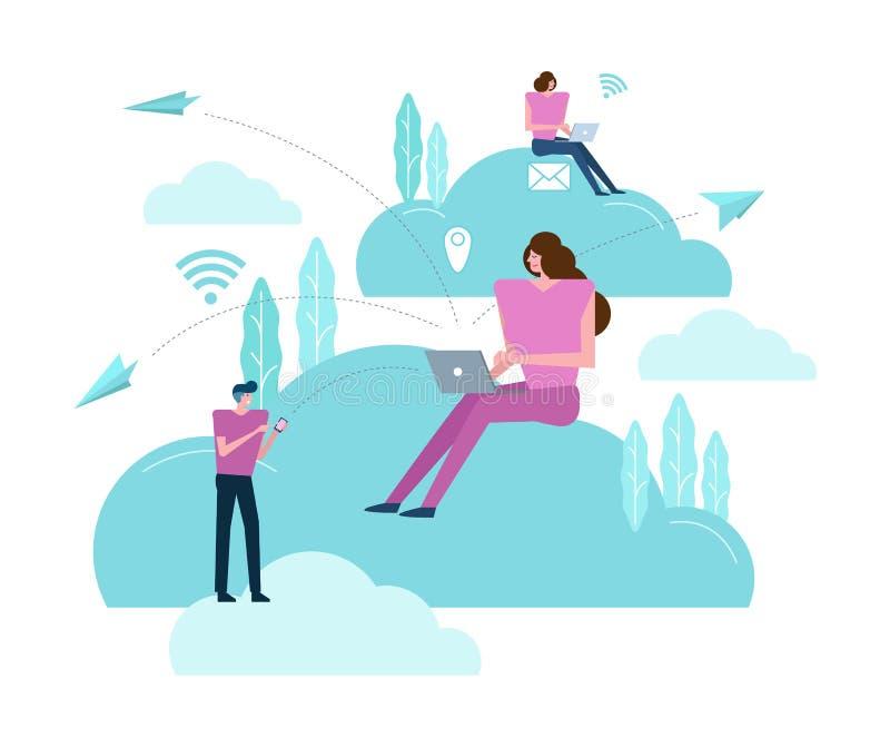 Επιχειρηματίες που εργάζονται σε ένα σύννεφο απεικόνιση αποθεμάτων