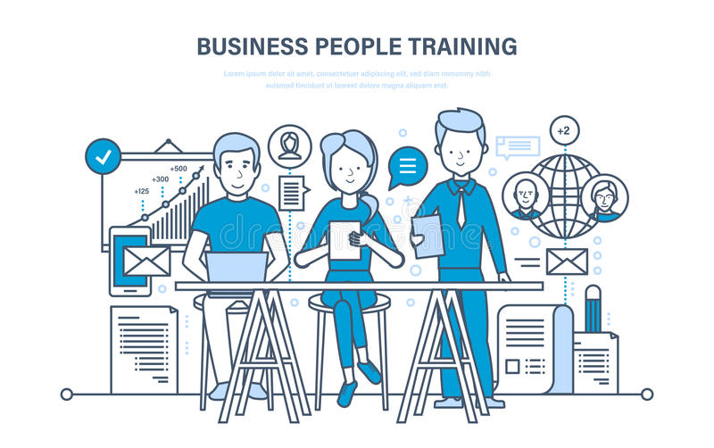 Επιχειρηματίες που, διαβούλευση, εκμάθηση, να διδάξει, εκπαίδευση, αύξηση σταδιοδρομίας, ομαδική εργασία ελεύθερη απεικόνιση δικαιώματος