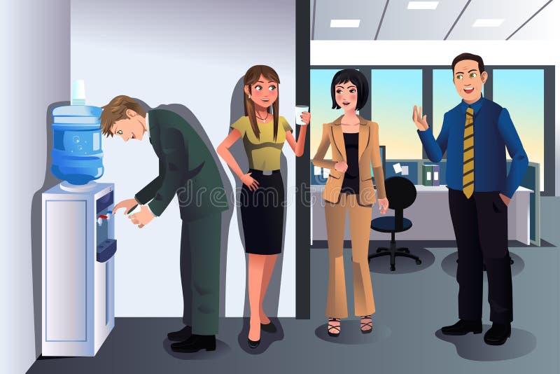 Επιχειρηματίες που κουβεντιάζουν κοντά σε ένα δοχείο ψύξης νερού διανυσματική απεικόνιση