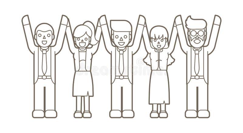 Επιχειρηματίες που κρατούν τα χέρια, ο νικητής, επιτυχής επιχείρηση, εργασία ομάδας διανυσματική απεικόνιση