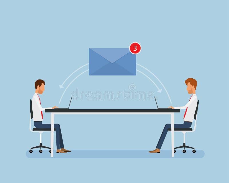 Επιχειρηματίες που λειτουργούν on-line και μάρκετινγκ επιχειρησιακού ηλεκτρονικού ταχυδρομείου διανυσματική απεικόνιση
