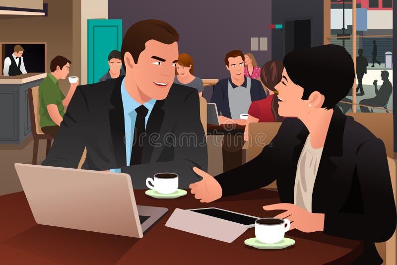 Επιχειρηματίες που μαζί στην καφετέρια διανυσματική απεικόνιση