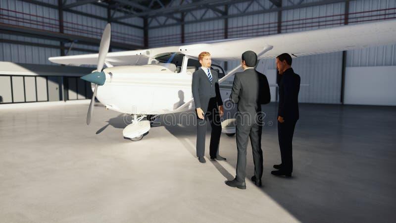 Επιχειρηματίες που μιλούν στο υπόστεγο πριν από το αεροπλάνο πριν από την αναχώρηση Η έννοια του ταξιδιού ή του ταξιδιού τρισδιάσ ελεύθερη απεικόνιση δικαιώματος